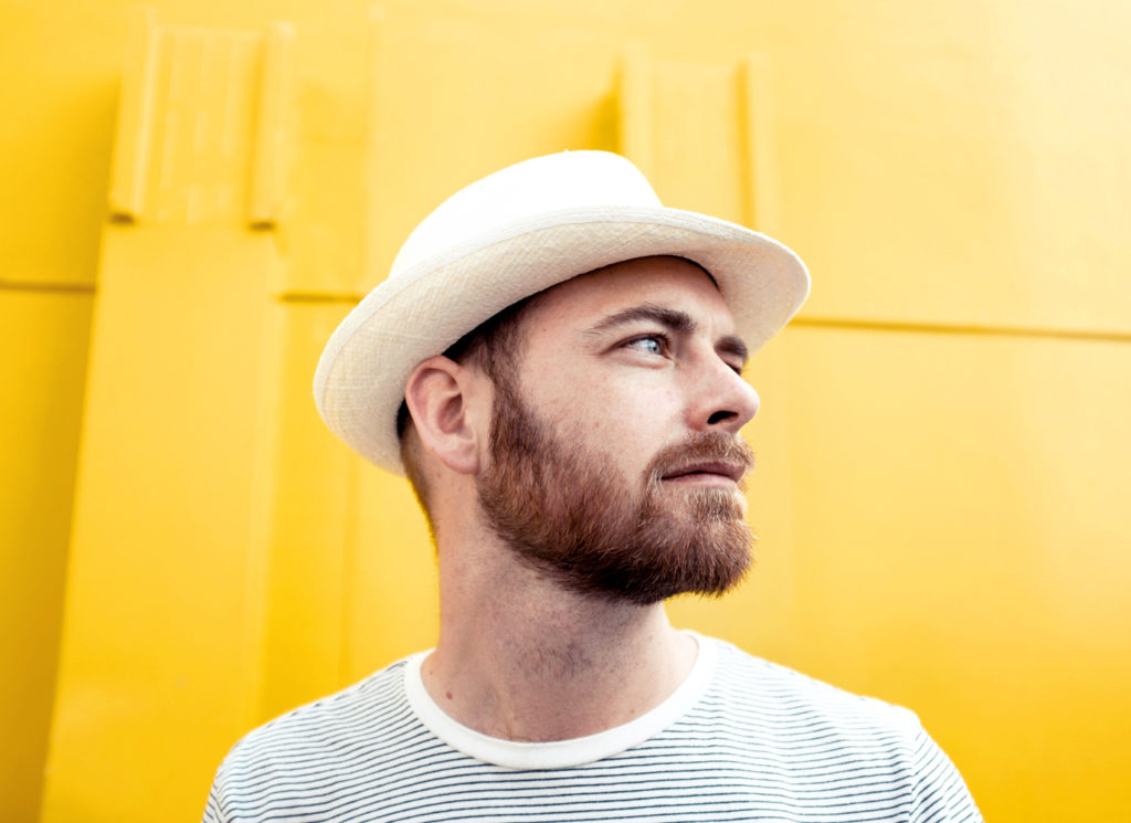 portrait, yellow, color, beard, hat, striped